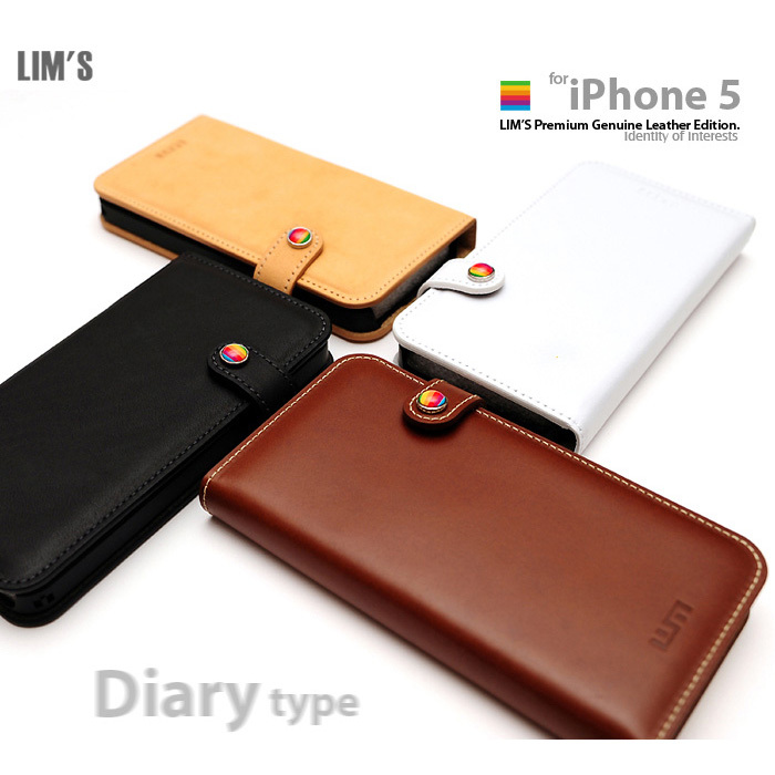 LIM'S : Premium Genuine Leather Edition Diary Type Cover Cas For iPhone 5