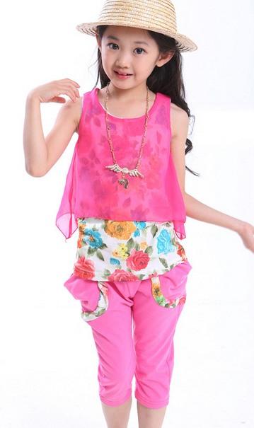 ชุดเด็กโต (ไซส์ 110-160) ชุดเสื้อ+กางเกง สีชมพู 2 ชิ้นติดกัน ตัวในลายดอกไม้พร้อมสร้อยคอ กางเกงสีชมพู สดใส น่ารักมากค่ะ