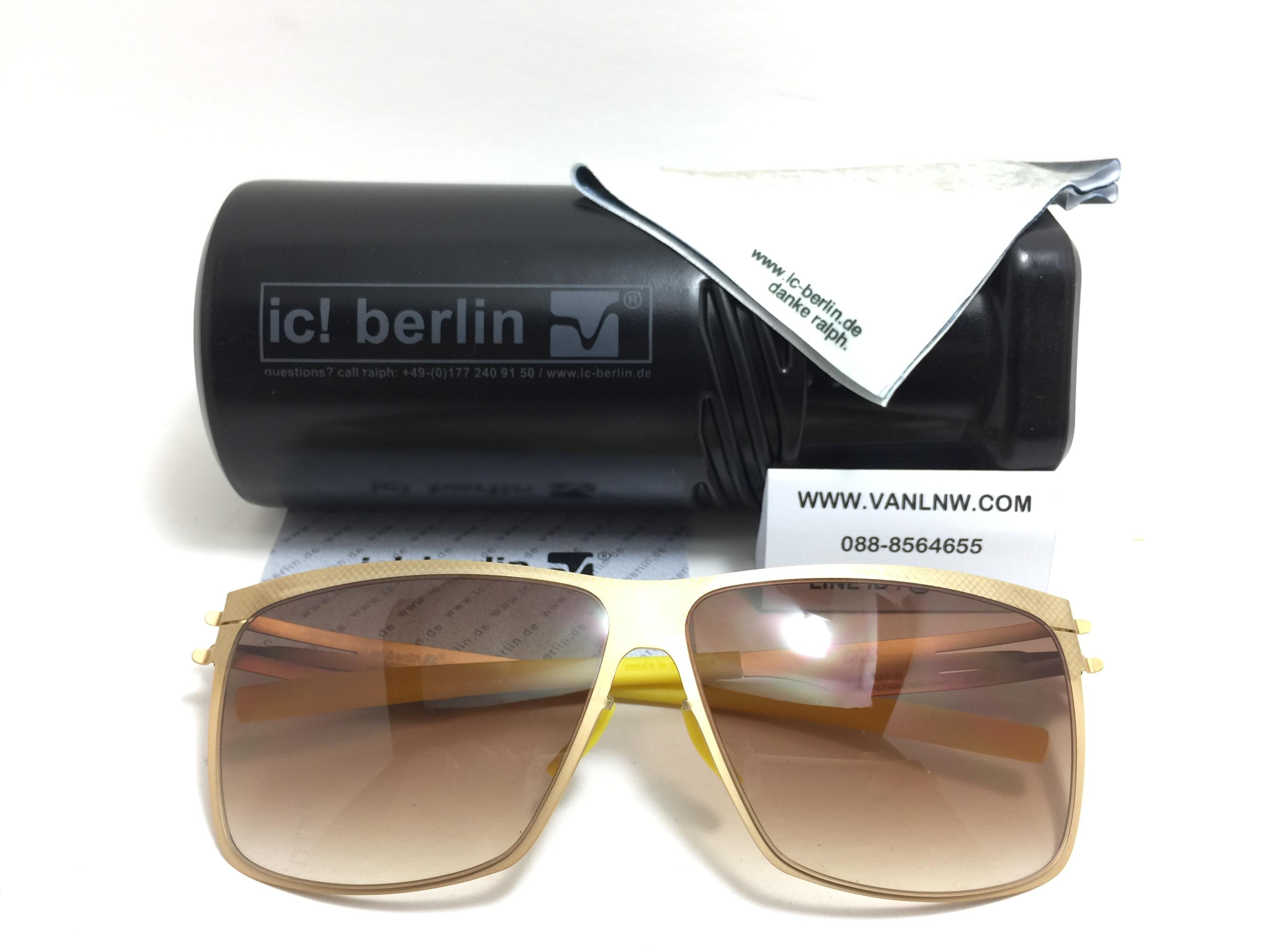 แว่นกันแดด ic berlin model siviob matt gold 62-12 <ดำ>