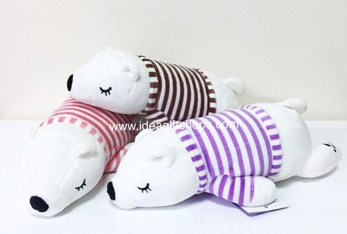 ตุ๊กตาหมีสีขาว ใส่เสื้อ นุ่มมากๆ ขนาด 10 นิ้ว มี 3 สี