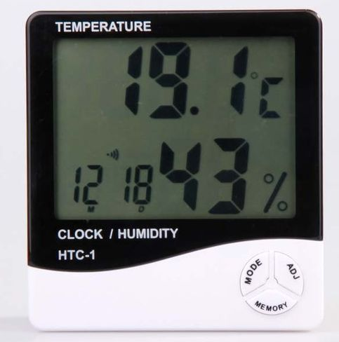 HY02-เครื่องวัดอุณหภูมิ เครื่องวัดความชื้น และนาฬิกา Hygro-Thermometer HTC1