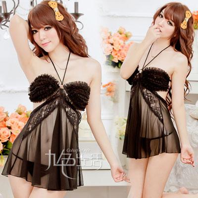 2in1 Sexy Dress ชุดนอนเซ็กซี่ซีทรูสีดำสุดหรูแต่งระบายอก สายคล้องคอ+จีสตริง