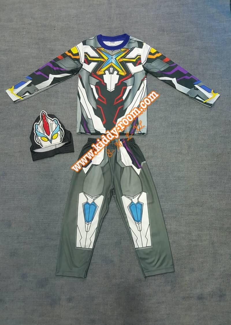 ชุดUltraman X - ชุดแฟนซีอุลตร้าแมนเอ๊กซ์ (งานลิขสิทธิ์) 3 ชิ้น เสื้อ กางเกง & หน้ากากให้คุณหนูๆ ได้ใส่ตามจิตนาการ ผ้ามัน Polyester ใส่สบายค่ะ หรือจะใส่เป็นชุดนอนก็ได้ค่ะ size S, M, L, XL