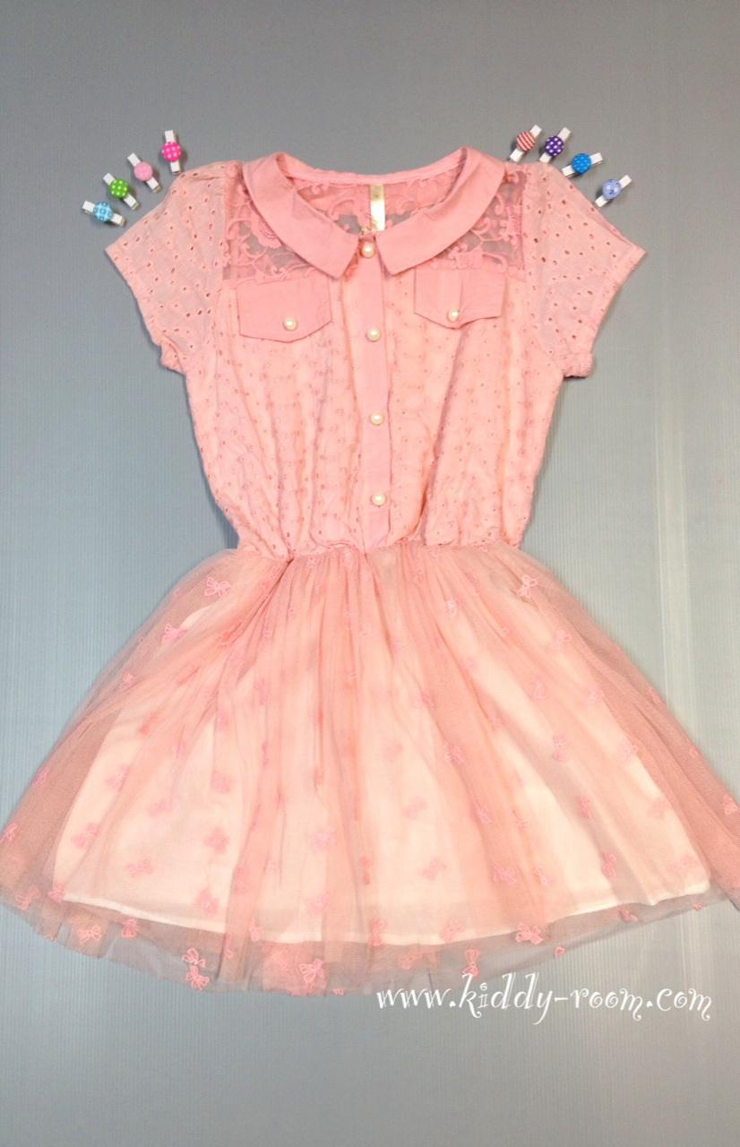 (เด็กโต) ชุดกระโปรงสีโอรส ลูกไม้ฉลุ ช่วงกระโปรงเป็นผ้ามั้งนิ่มๆ ลายโบว์ ซับในทั้งตัว น่ารักมากๆ size 13, 15, 17, 19