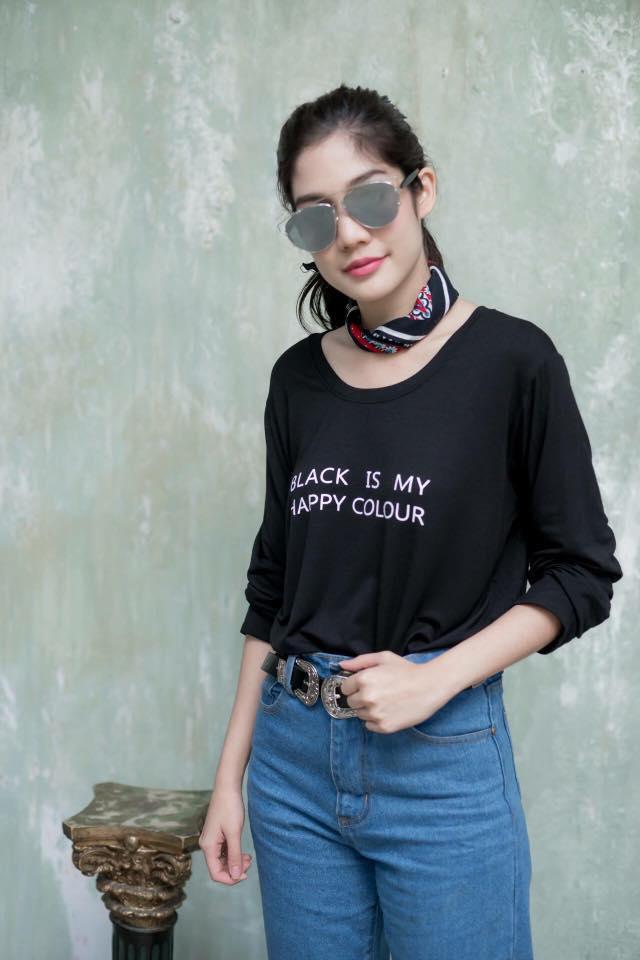 เสื้อยืดแขนยาว Black is my happy colour