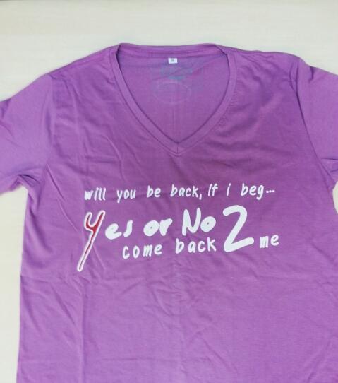 เสื้อยืด Yes Or No 2 ม่วง ไซส์ XL