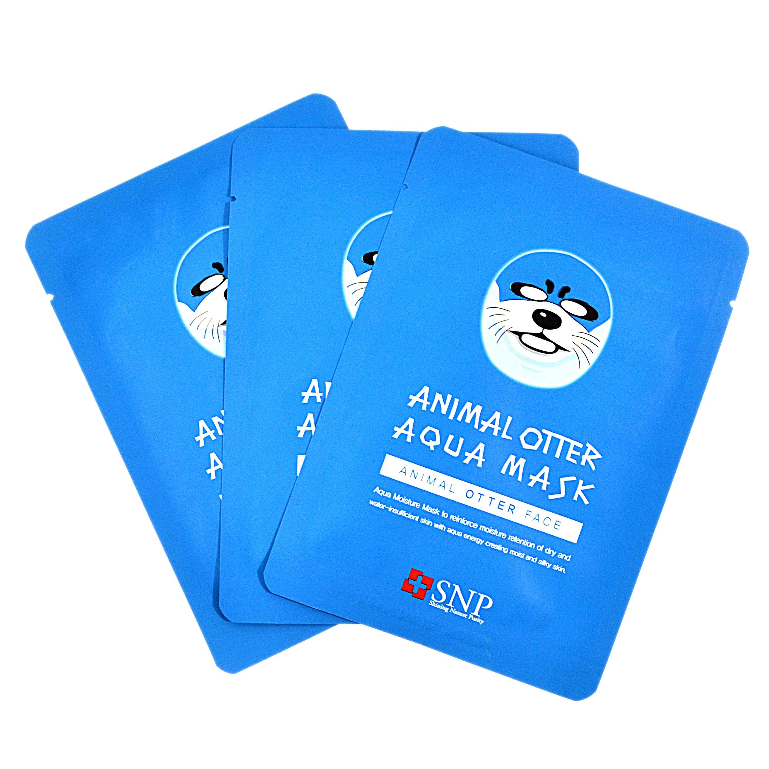 แพ็ค 3 แผ่น แผ่นมาร์คหน้าลายสัตว์ SNP Otter aqua mask นำเข้าจากเกาหลี