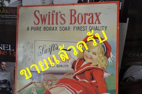 ป้ายอีนาเมล swift's borax ป้ายเก่าusa