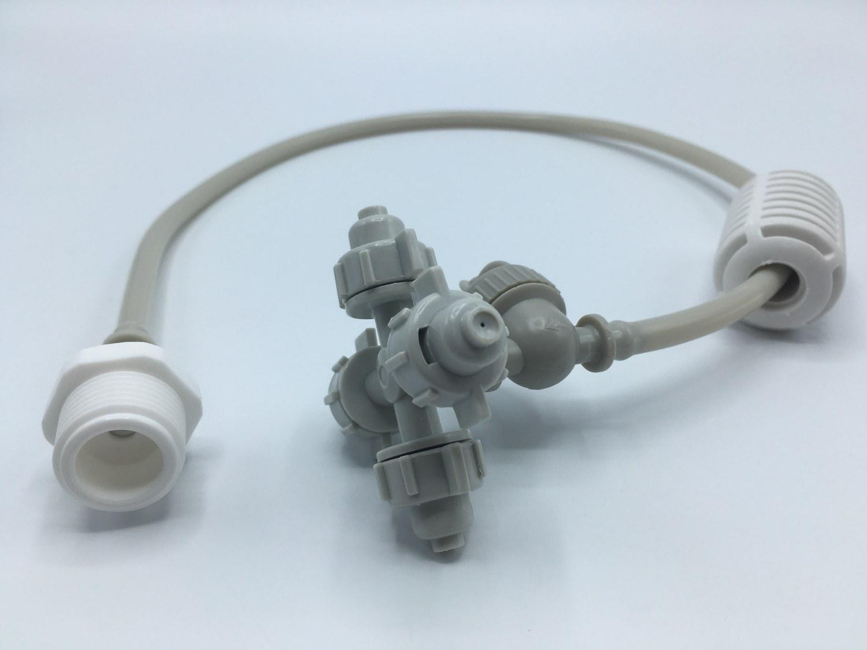 """หัวพ่นหมอกเนต้าฟิล์ม 0.6 มม. 4 ทิศทาง แบบเกลียวนอก 1/2"""" สายยาว 30 ซม.( ต่อกับท่อ PVC 1/2"""" ได้เลย )"""