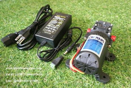 ปั๊มน้ำ DC12V OK-01 6 บาร์ + อะแดปเตอร์ 12V 3.2A YU1203 + แจ็ค DC เมีย