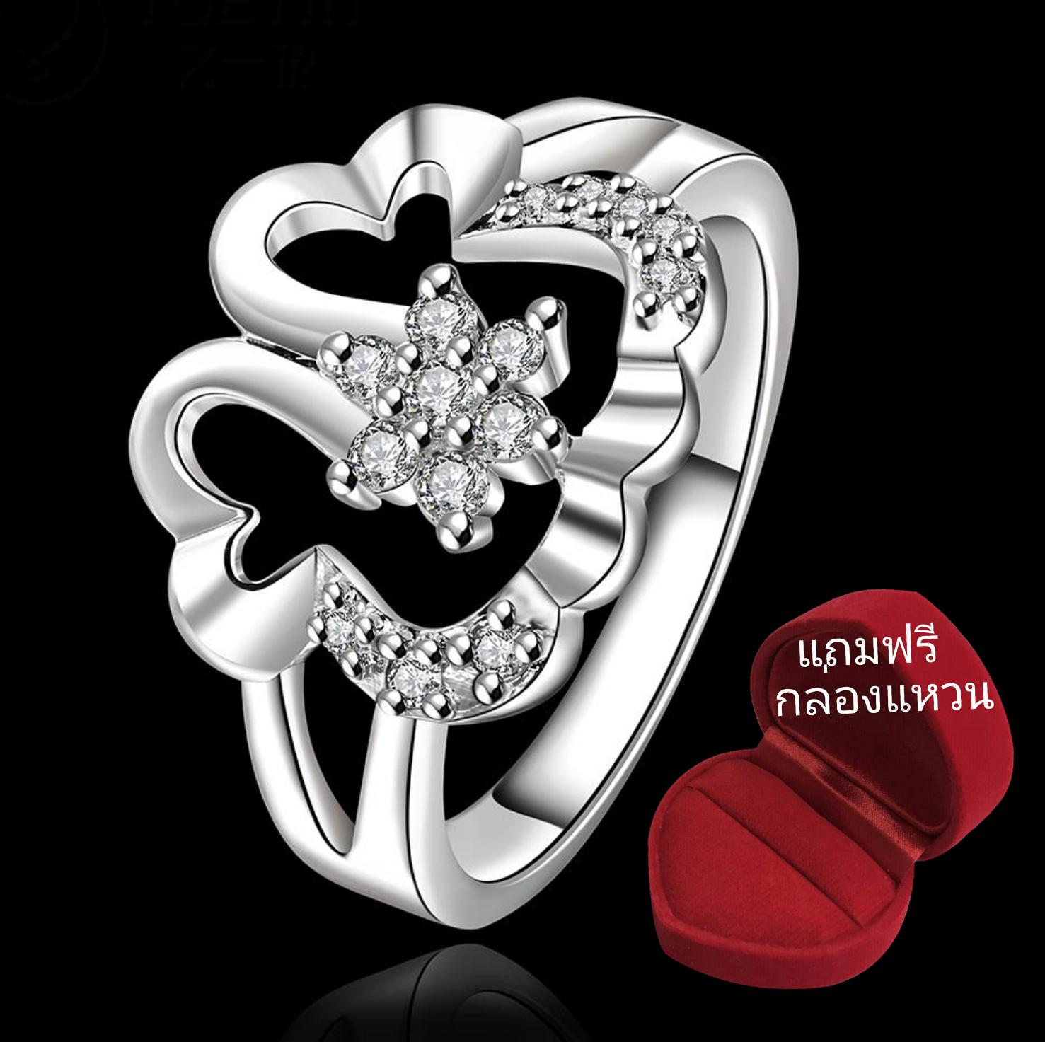 ฟรีกล่องแหวน R881 แหวนเพชรCZ ตัวเรือนเคลือบเงิน 925 หัวแหวนรูปดอกไม้แต่งเพชร ขนาดแหวนเบอร์ 8
