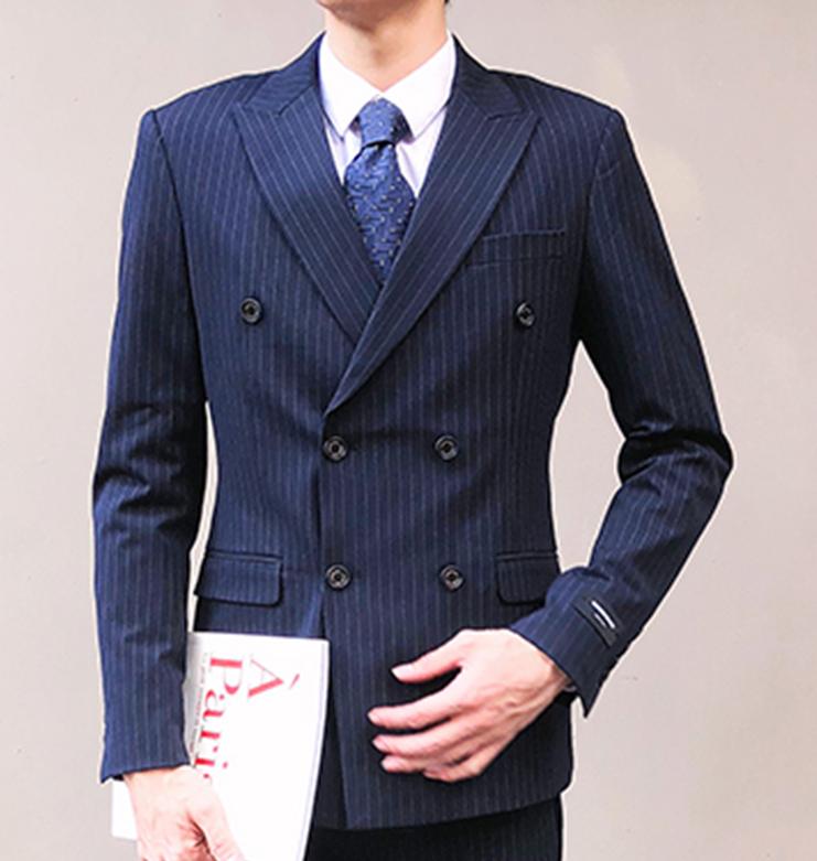 เสื้อสูท เกรดพรีเมี่ยม ลายทาง กระดุม 6 เม็ด สีกรม Size L