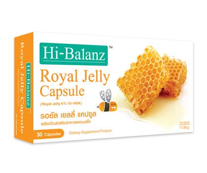 Hi-BalanzRoyal Jelly Capsule 30 Capsules ซื้อ2กล่องส่งฟรีEMS - ฟื้นฟู และบำรุงผิวให้สดชื่น (Beauty Recover ) ด้วยสาร 10-HDA เข้มข้น 6% (10-Hydroxy-2-Drcenoid Acid) สารอาหารชนิดพิเศษที่มีเฉพาะในนมผึ้ง Hi-BalanzRoyal Jelly Capsule 30 Capsules ซื้อ2กล่องส่งฟ