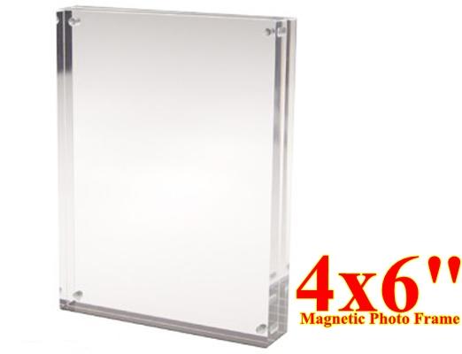 กรอบรูปอะครีลิคตั้งโต๊ะ แบบแม่เหล็กประกบ ขนาด 4x6 นิ้ว