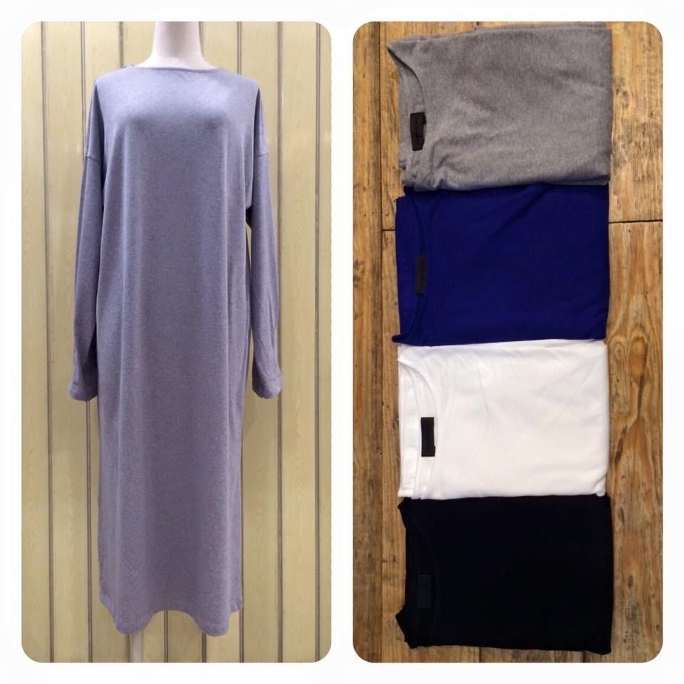 Basic Plain Dress สีเทา
