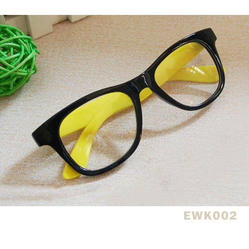 แว่นตาแฟชั่น เกาหลี EWK002 กรอบดำ ขาสีเหลือง