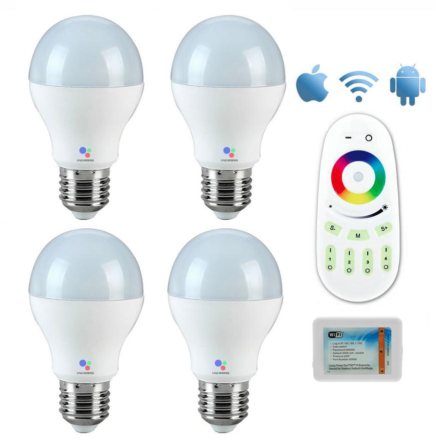LED Wifi Bulb 6w RGB 4 หลอด พร้อมรีโมทและคอนโทรลเลอร์
