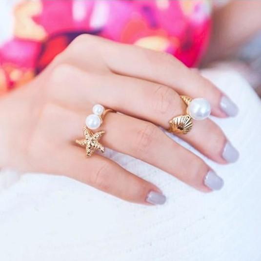 Sea Lover 2in1 Starfish Sea Shell Ring แหวนคู่แฟชั่นญี่ปุ่น รูปเปลือกหอย ปลาดาว แต่งมุกสวยมาก