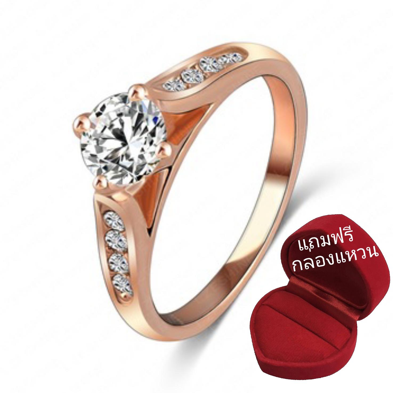 ฟรีกล่องแหวน แหวนเพชรCZ ตัวเรือนเคลือบทองชมพู 18k ทรงเพชรชู ขนาดแหวนเบอร์ 17 mm.