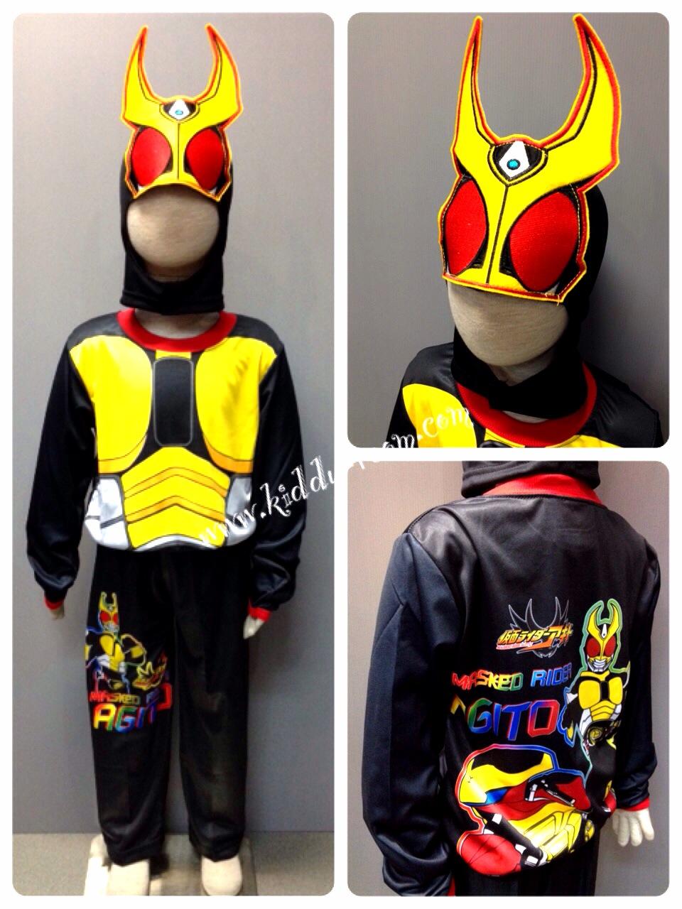 Masked Rider Agito (งานลิขสิทธิ์) ชุดแฟนซีเด็กมาค์ส ไรเดอร์ อากิโตะ 3 ชิ้น เสื้อ กางเกง & หน้ากาก ให้คุณหนูๆ ได้ใส่ตามจิตนาการ ผ้ามัน Polyester ใส่สบายค่ะ หรือจะใส่เป็นชุดนอนก็ได้ค่ะsize S, M, L, XL