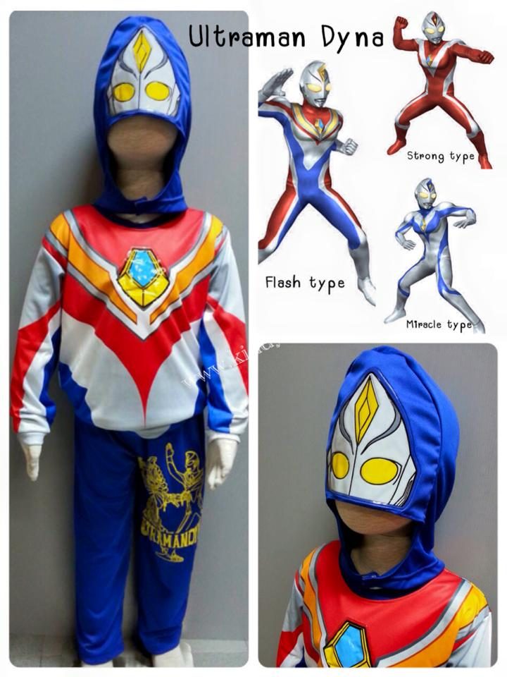 Ultraman Dyna - อุลตร้าแมนไดน่าแปลงได้ 3 ร่างค่ะ ชุดนี้เป็นเซ็ทน้ำเงิน น่าจะเป็น Miracle type (งานลิขสิทธิ์) 3 ชิ้น เสื้อ กางเกง & หน้ากาก ผ้ามัน Polyester ใส่สบายค่ะ ให้หนูๆ ได้ใส่ตามจิตนาการหรือจะใส่เป็นชุดนอนก็ได้นะคะ
