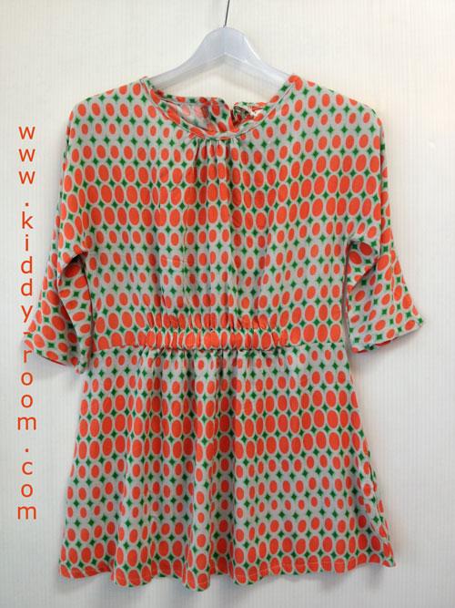 เดรสลายกราฟฟิกโทนส้ม-เขียว ช่วงเอวต่อยางยืด แนวติดส์ๆ หรือจะใส่เป็นเสื้อตัวยาวก็น่ารักสุดๆ ไม่ซ้ำใคร size 5, 7, 9