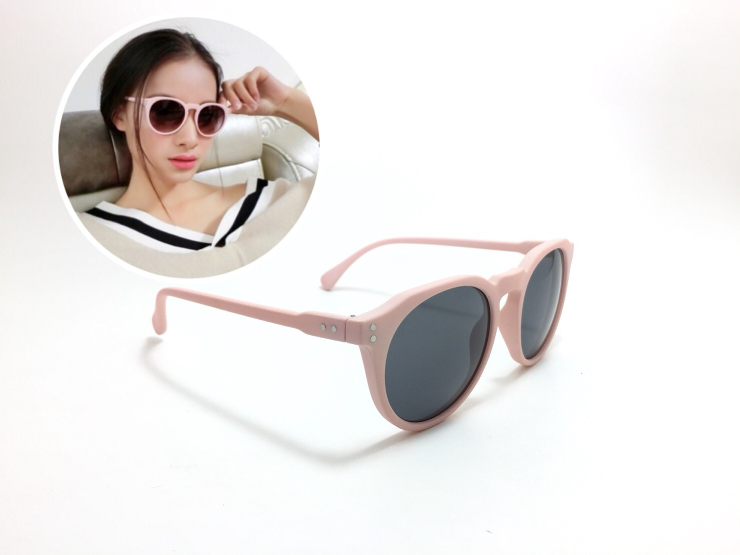 แว่นกันแดดแฟชั่น Topman Matte Pink Round Sunglasses 51-17-140 <ชมพู>
