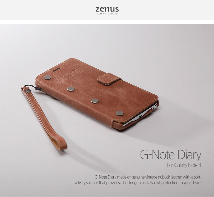 Zenus : G-Note Diary Genuine Vintage Leather Cover Case For Galaxy Note 4