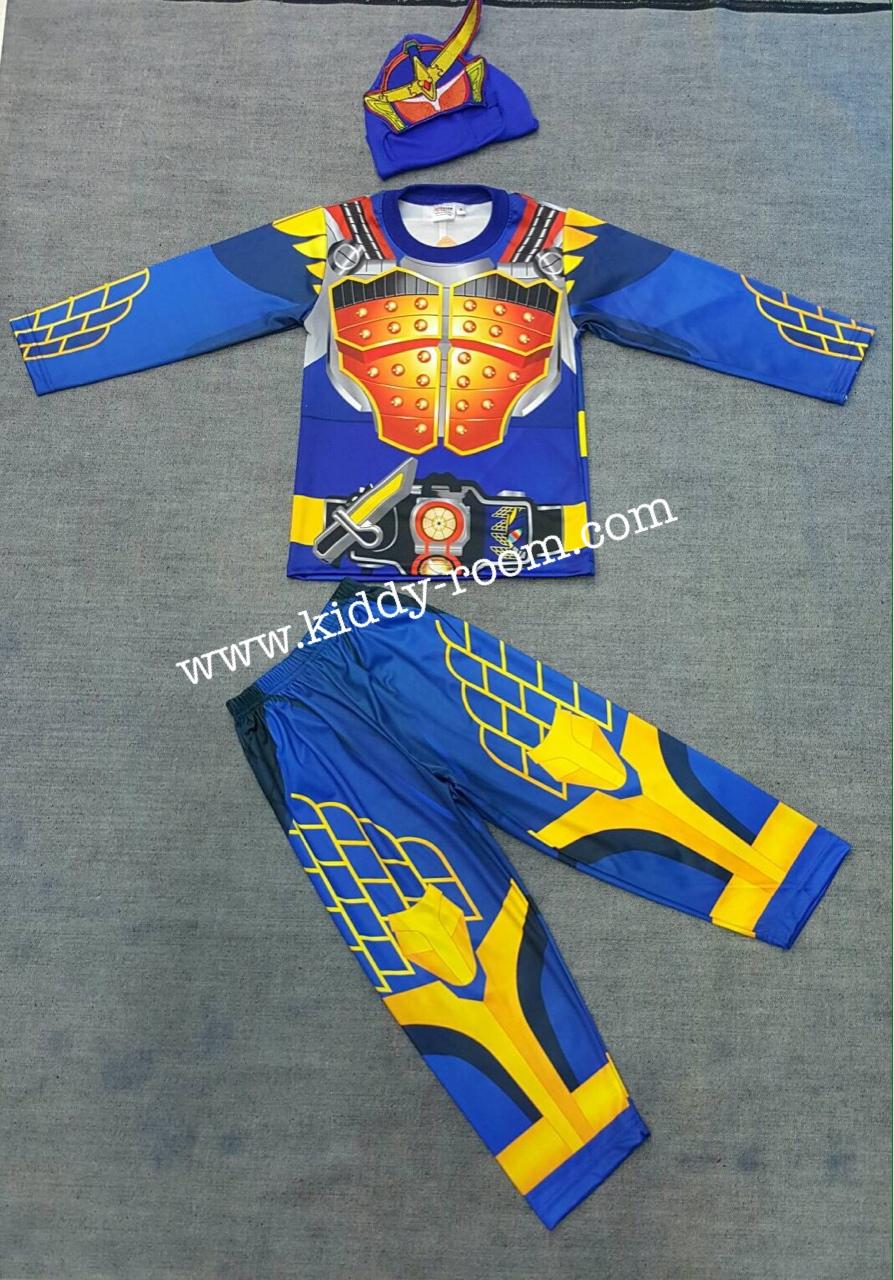 Masked Rider Gaim - ชุดแฟนซีมาร์คไรเดอร์ ไกมุ (งานลิขสิทธิ์) 3 ชิ้น เสื้อ กางเกง & หน้ากากให้คุณหนูๆ ได้ใส่ตามจิตนาการ ผ้ามัน Polyester ใส่สบายค่ะ หรือจะใส่เป็นชุดนอนก็ได้ค่ะ size S, M, L, XL
