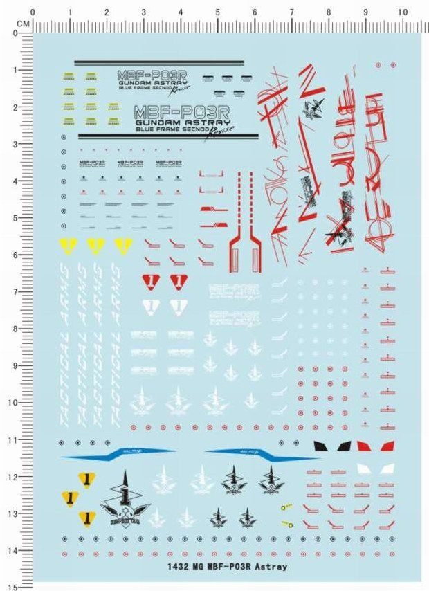 decals MG Gundam MBF-P03R Astray Blue Frame Second Revise Decal 1432