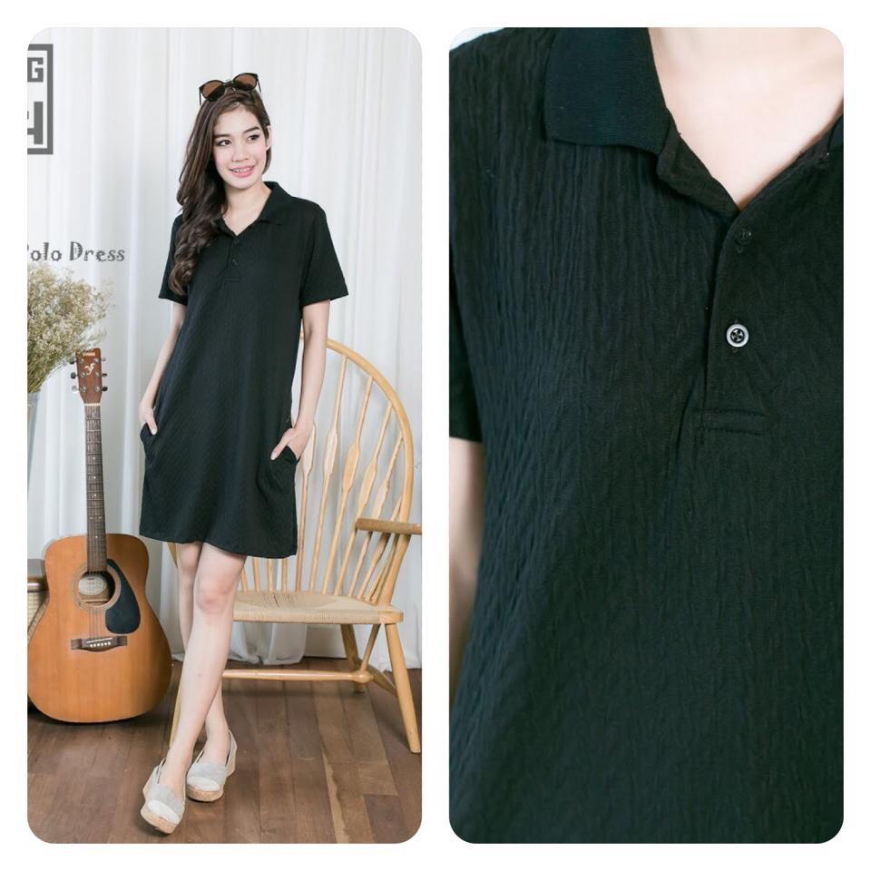 Polo dress สีดำ