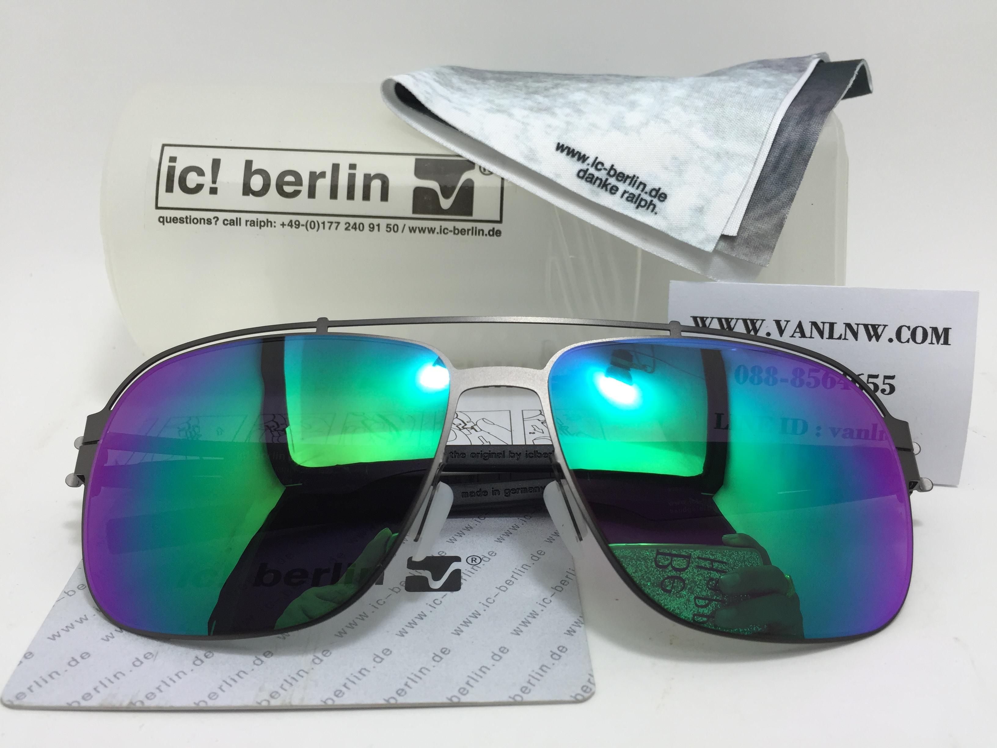 แว่นกันแดด ic berlin wetterfahe gun metal 61-16 <ปรอทเขียว>