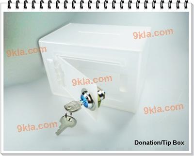 กล่องทิป 20cm ใส (กล่องรับบริจาค กล่องแสดงความคิดเห็น)