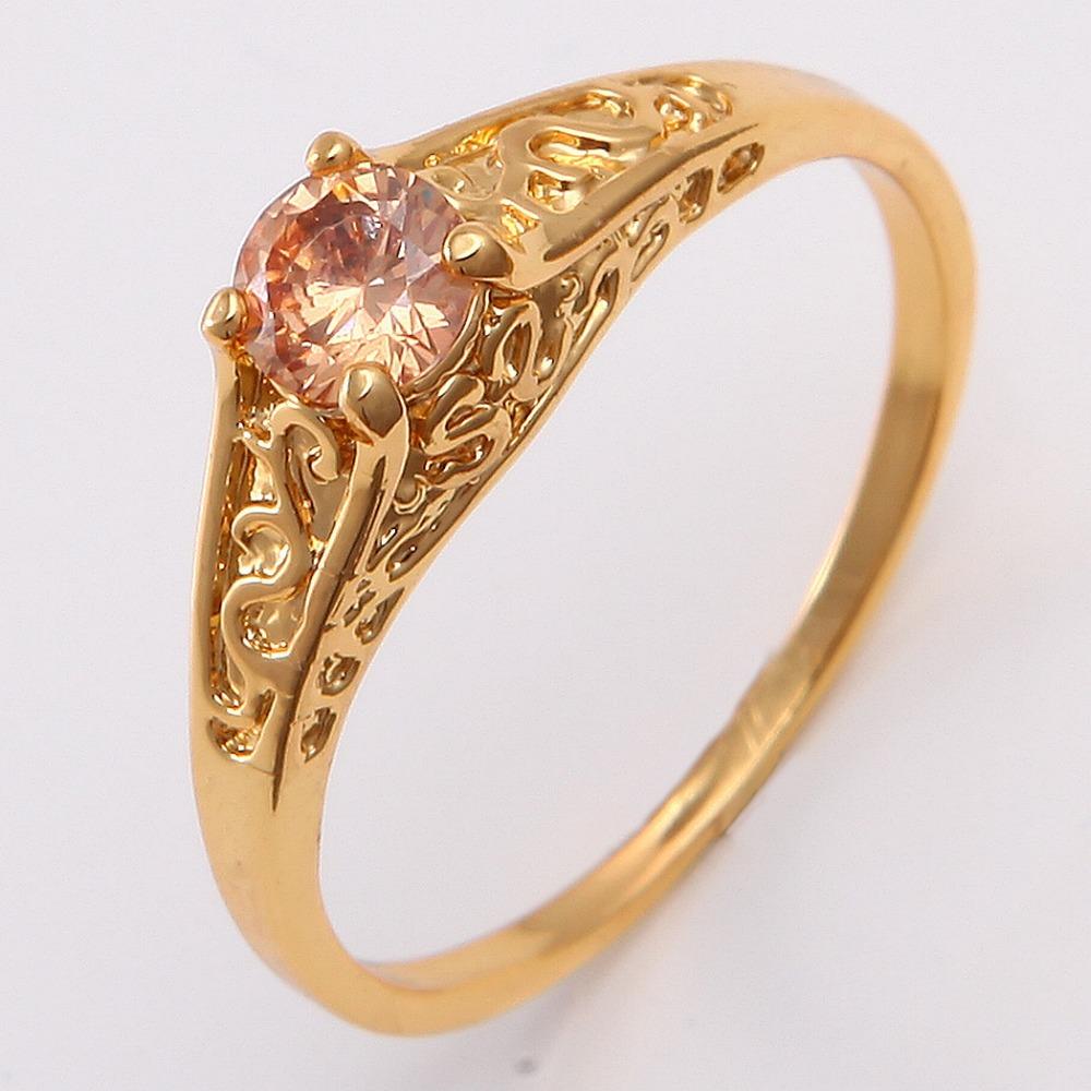 แหวนเคลือบทองคำ 14K หัวแหวน Citrine ขนาดแหวนเบอร์ 10