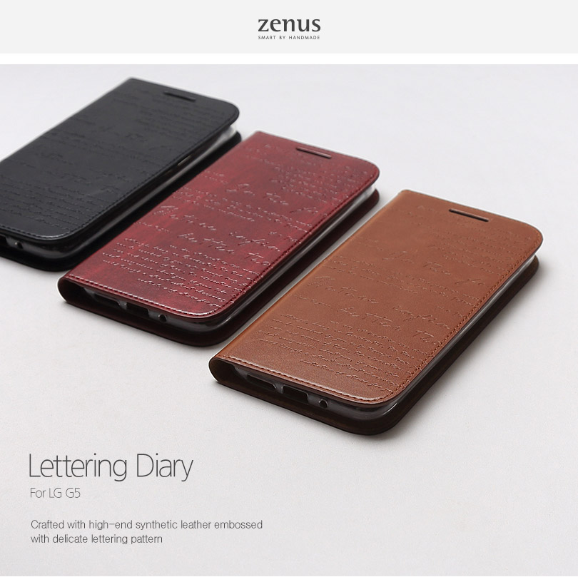 Zenus : Lettering Diary Wallet w/Card Slots Cover Case For LG G5