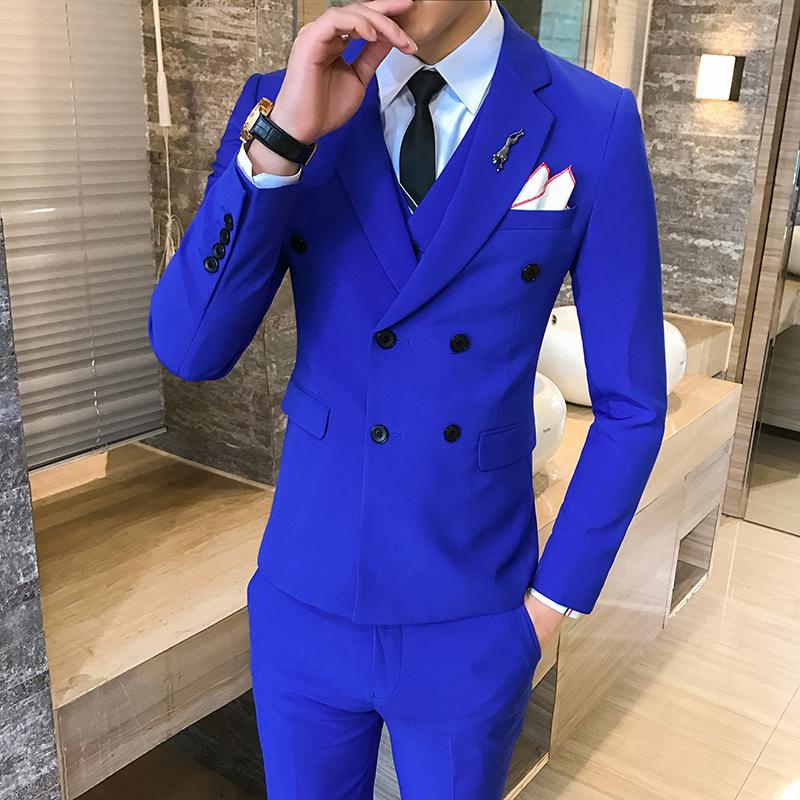 สูท,ชุดสูทเจ้าบ่าว,สูทผู้ชาย สีน้ำเงินสด กระดุม 6 เม็ด Size L