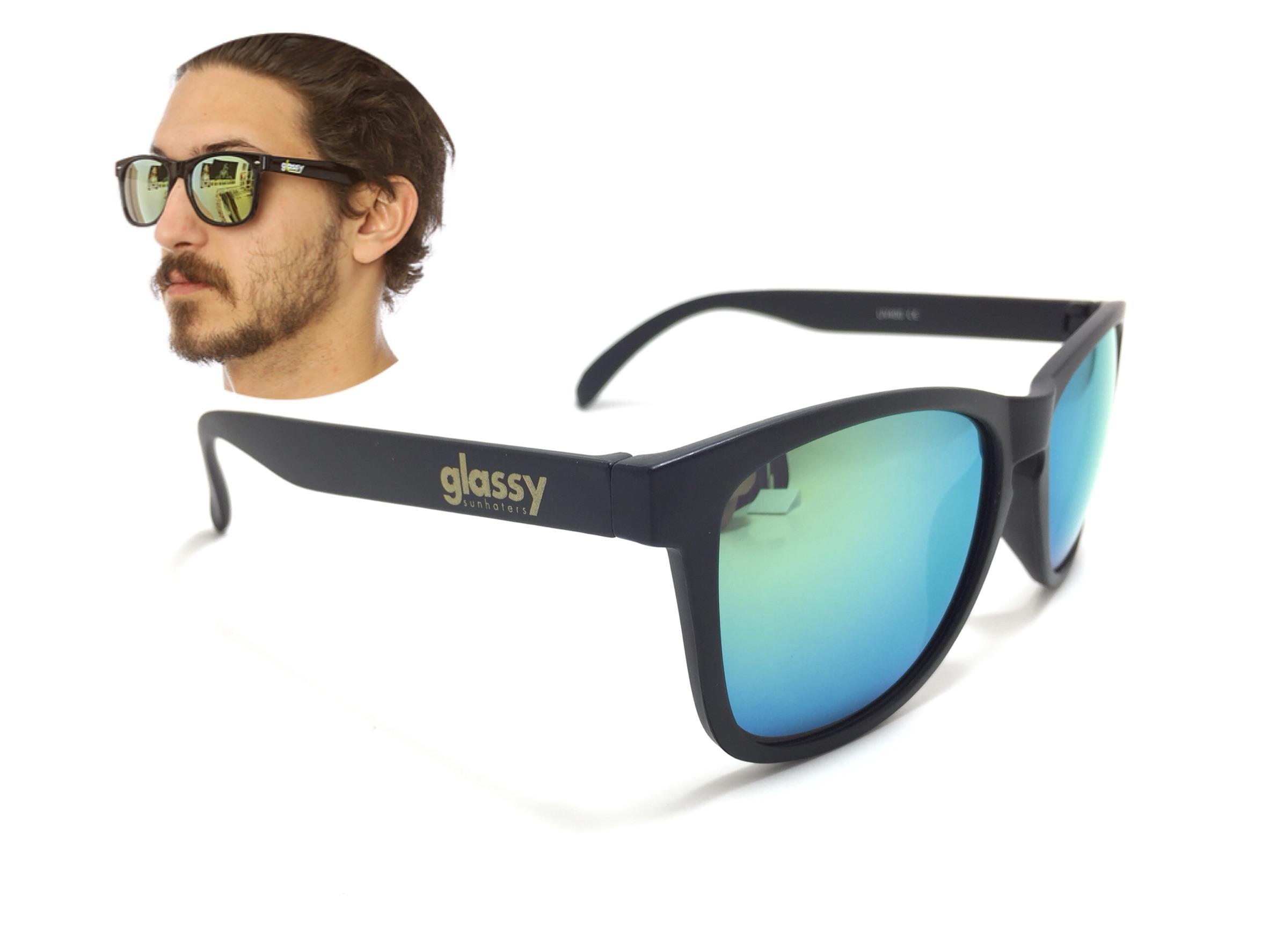 แว่นกันแดด Glassy Sunhaters Deric Black/Gold Mirror (Cancer Hater) 54-18 140 <ปรอทเหลือง>