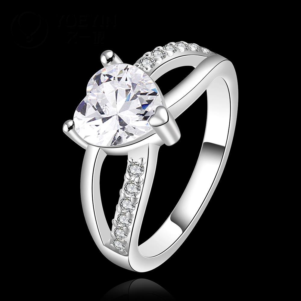 R906 แหวนเพชรCZ ตัวเรือนเคลือบเงิน 925 หัวแหวนรูปหัวใจ ขนาดแหวนเบอร์ 7