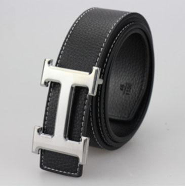 เข็มขัดหนังแท้สีดำสายดำ สีเงิน H