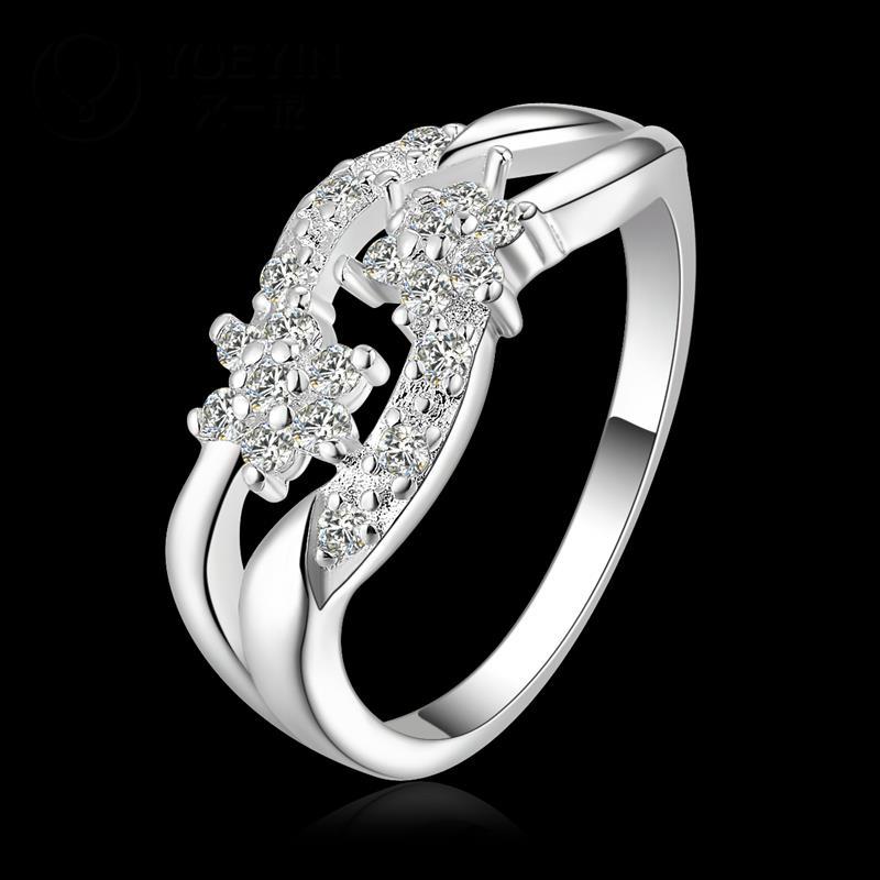 R885 แแหวนเพชรCZ ตัวเรือนเคลือบเงิน 925 หัวแหวนรูปดอกไม้คู่ ขนาดแหวนเบอร์ 8