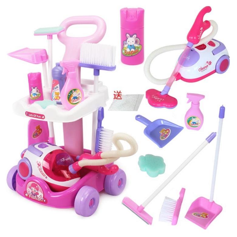 ชุดรถเข็นทำความสะอาดของเล่นเด็กมีเครื่องดูดฝุ่น