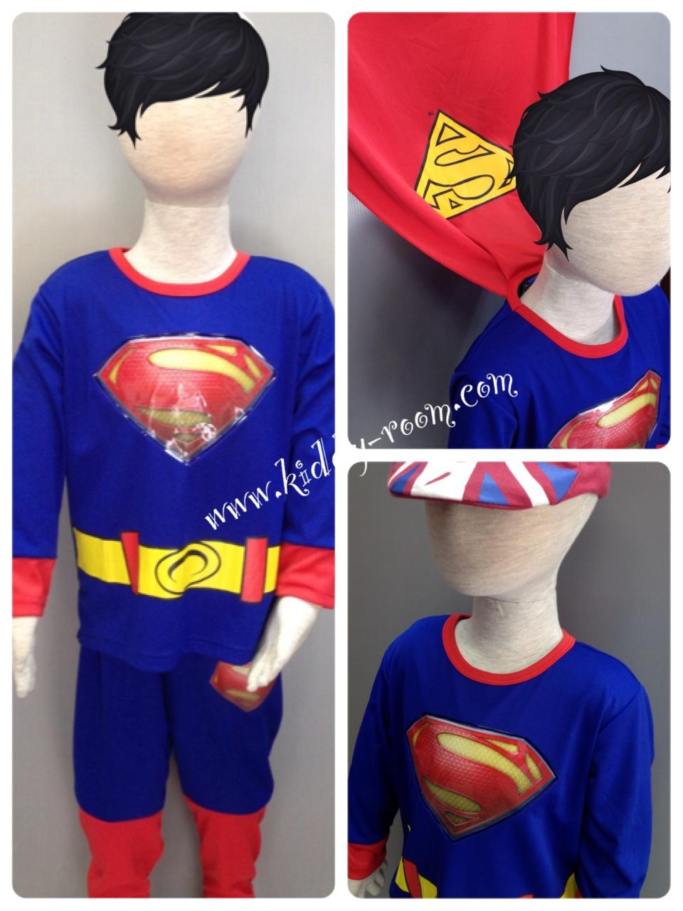**หมดชั่วคราว** Superman (งานลิขสิทธิ์) ชุดแฟนซีเด็กซุปเปอร์แมน มีไฟ 2 ชิ้น เสื้อพร้อมผ้าคลุม และกางเกง (รุ่นนี้มีสกรีนเข็มขัดเพิ่มมาค่ะ ส่วนกางเกงจะไม่มีผ้าต่อเป็นกางเกงใน) คุณหนูๆ ได้ใส่ตามจิตนาการ ผ้ามัน Polyester ใส่สบายค่ะ หรือจะใส่เป็นชุดนอนก็ได้ค่ะ