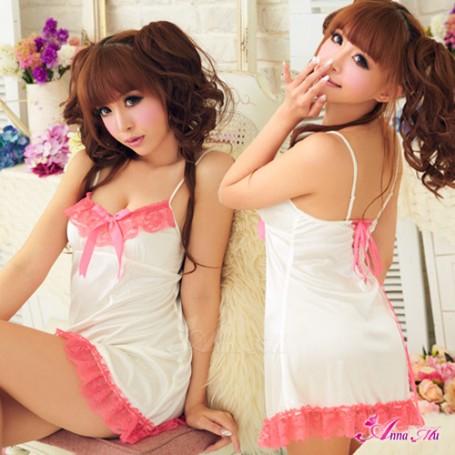 2in1 Sexy Princess Dress ชุดนอนเซ็กซี่ผ้ามันลื่นสีขาวแต่งลูกไม้อก พร้อมจีสตริง