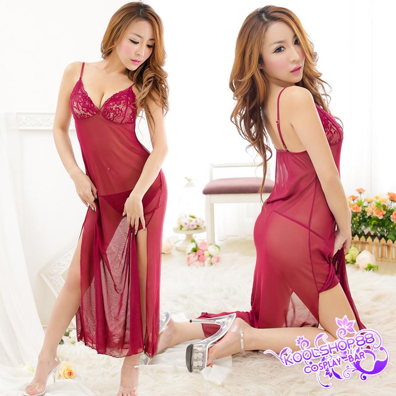 2in1 Sexy Dress ชุดนอนเซ็กซี่ซีทรูสีแดงแต่งลูกไม้อก กระโปรงยาวผ่าข้างสูง