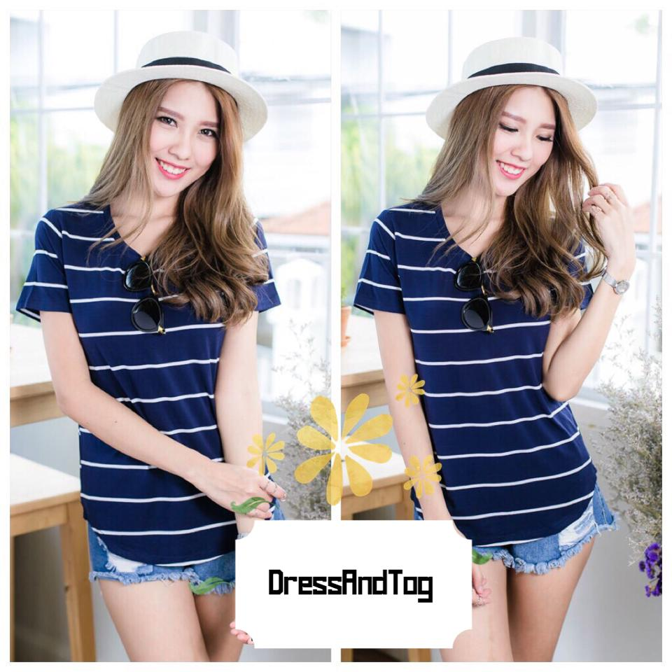 Striped Tshirt สีกรมท่าริ้วขาว