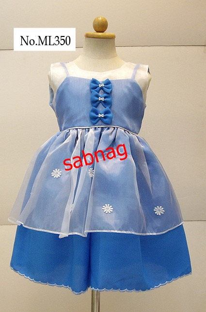 ชุดเดรสกระโปรงเด็กสีน้ำเงินแต่งด้วยผ้าไหมแก้วสีขาว ML350