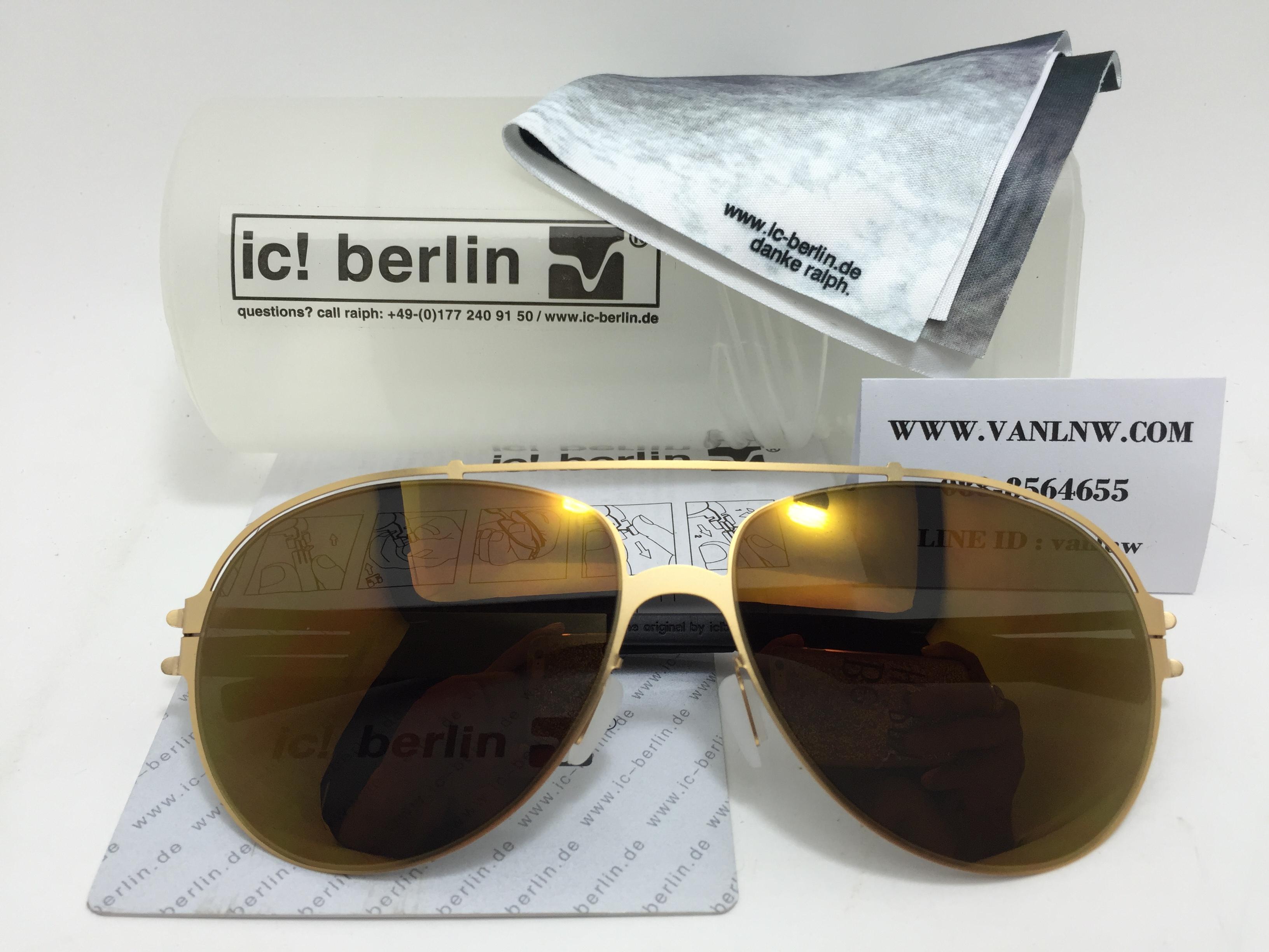 แว่นกันแดด ic berlin ruckblick matt gold 60-15 <ปรอททอง>
