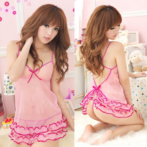 2in1 Sexy Dress Babydoll ชุดนอนเซ็กซี่ซีทรูเดรสกระโปรงระบายชั้นๆ สไตล์สาวหวานน่ารัก