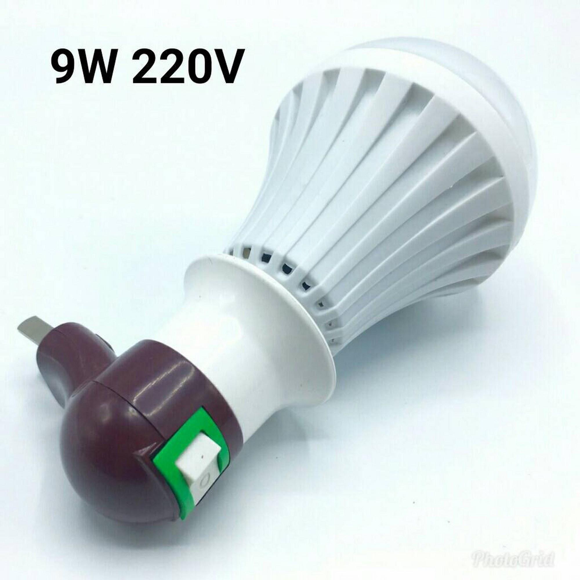 หลอดไฟอัจฉริยะฉุกเฉินแบตเตอรี่ในตัว(กันน้ำ) LED 9W 220V ( + สวิตช์โคมไฟติดผนังแบบติดผนัง)