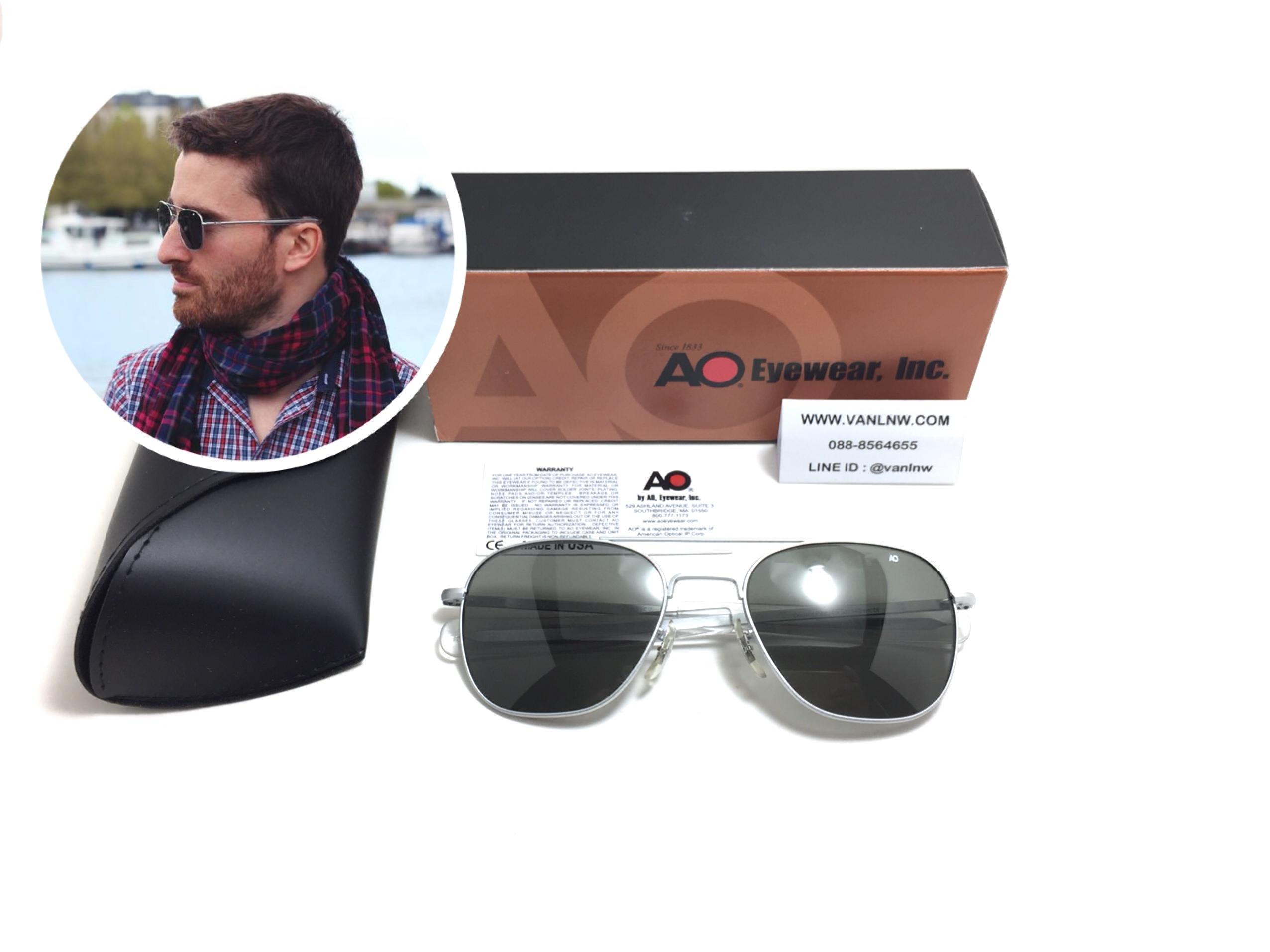 แว่นกันแดด Ao Original Pilot 55-20 140 (usa) เงินด้าน